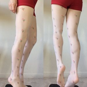 Urban Outfitters Accessories - Candy Cane Holiday Christmas Sheer Tights
